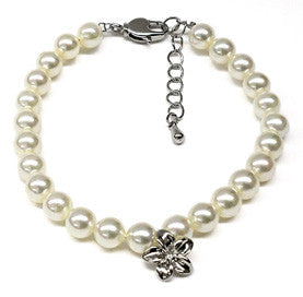 White Mother of Pearl Plumeria Charm Bracelet