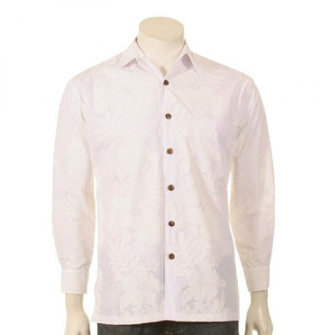 White on White Pareo Panel Print Long Sleeve Aloha Shirt