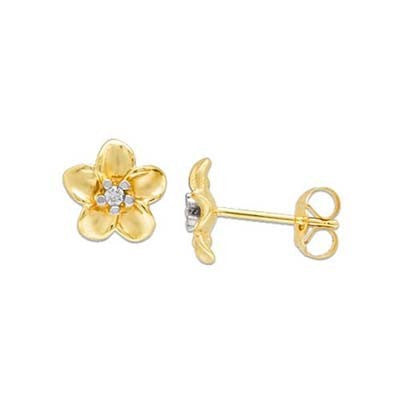 Maui Divers Jewelry Plumeria Earrings with Diamonds in 14K Yellow Gold - 9mm