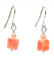 Pink Coral Chunk Earrings
