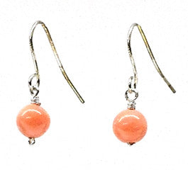 Pink Coral Bead Earrings