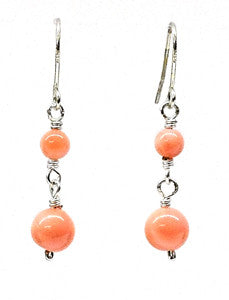 Pink Coral  Beads Earrings