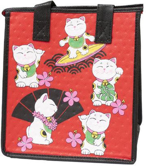 Aloha Kitty Red  Petite Hawaiian Insulated Hot/Cold Reusable Bag