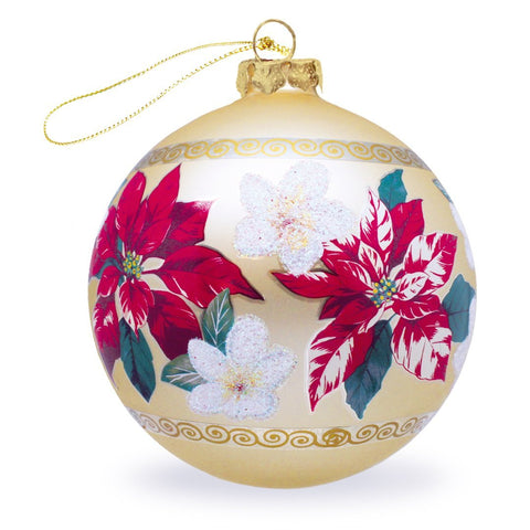 Festive Plumeria Glass Ornament