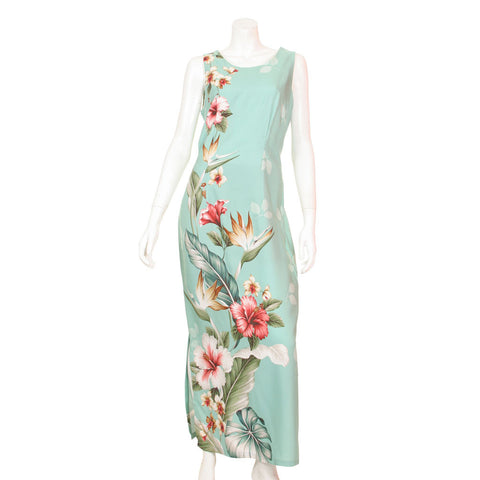 Floral Bird of Paradise Sleeveless Side Slit Long Dress ~ Green