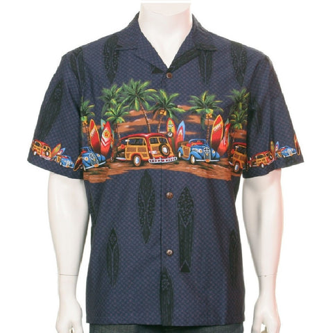 Men's Woody Chestband Hawaiian Shirt ~ Navy