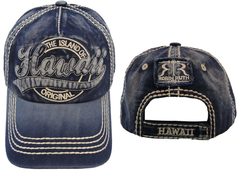 Robin Ruth Hawaii Vintage Stamp Cap - Blue