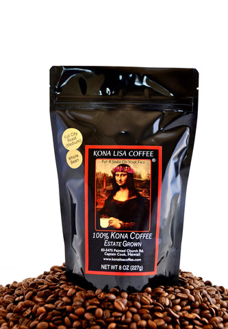 Kona Lisa 100% Kona Estate Coffee, FULL CITY (medium) Roast, Whole Bean (8oz)