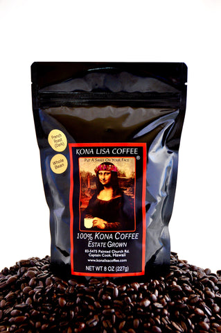 Kona Lisa 100% Kona Estate Coffee, FRENCH (dark) Roast, Whole Bean (8oz)