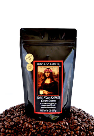 Kona Lisa 100% Kona Estate Coffee, MACADAMIA NUT Flavor (8oz) Whole Bean