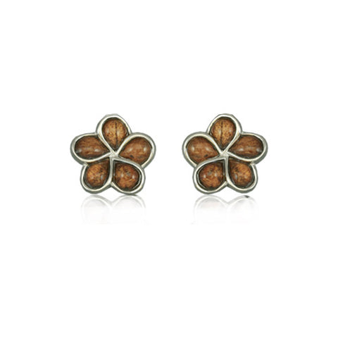 Sterling Silver Hawaiian Koa Wood Plumeria Earrings