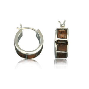 Sterling Silver Hawaiian Koa Wood Hoop Earrings