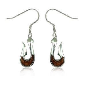 Sterling Silver Koa Wood Fish Hook Dangle Earrings