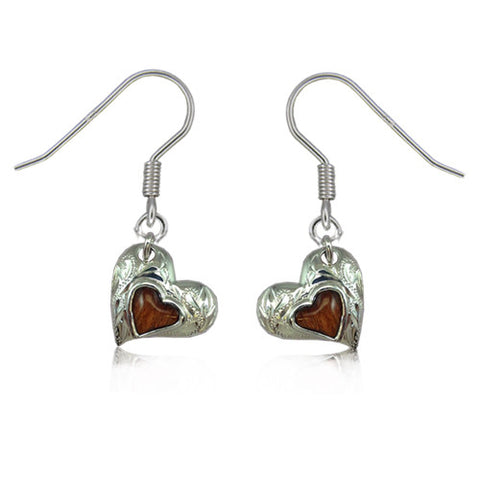 Sterling Silver Koa Wood Engraved Heart Shaped Dangle Earrings