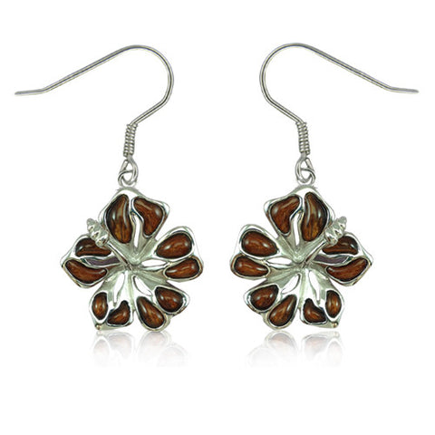 Sterling Silver Koa Wood Hibiscus Dangle Earrings~15MM
