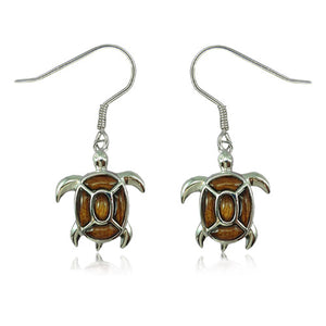 Sterling Silver Koa Wood Fancy Sea Turtle Dangle Earrings