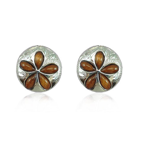 Sterling Silver Hawaiian Koa Wood Plumeria Sand Dollar Earrings