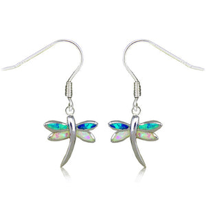 Sterling Silver Rainbow Opal Dragonfly Dangle Earrings