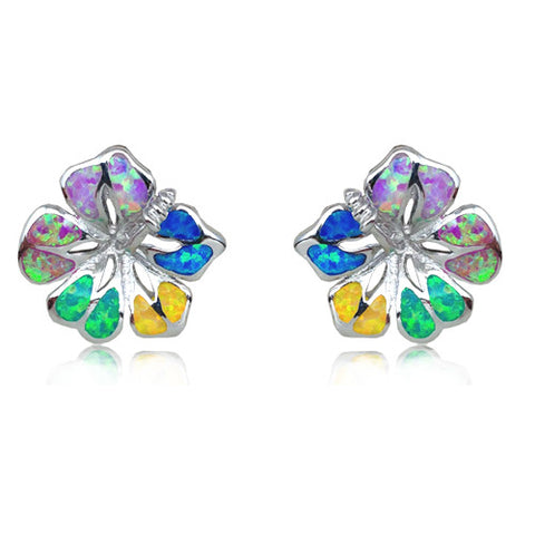 Sterling Silver Rainbow Opal Hibiscus Earrings~15MM