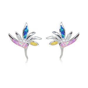 Sterling Silver Rainbow Opal Bird of Paradise Earrings