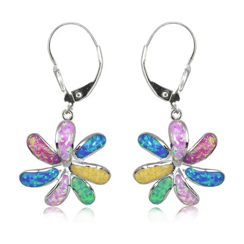 Rainbow Flower Earrings - Sterling Silver qjlXi