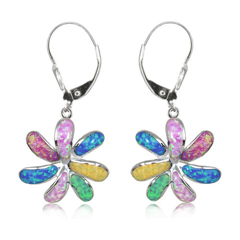 Sterling Silver Rainbow Opal Tiare Flower Earrings~15MM