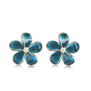 Sterling Silver Semi-Precious Blue Topaz Plumeria Earrings