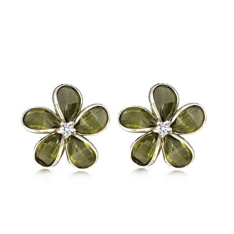 Sterling Silver Semi-Precious Green Peridot Plumeria Earrings