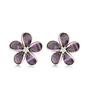 Sterling Silver Semi-Precious Purple Amethyst Plumeria Earrings
