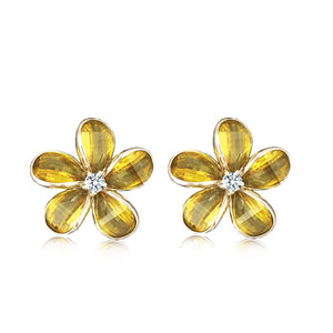 Sterling Silver Semi-Precious Yellow Citrine Plumeria Earrings