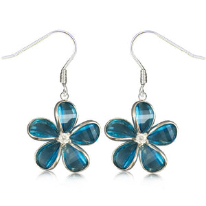 Sterling Silver Semi-Precious Blue Topaz Plumeria Dangle Earrings