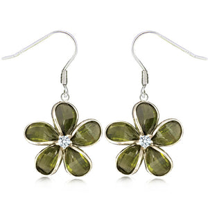 Sterling Silver Semi-Precious Green Peridot Plumeria Dangle Earrings