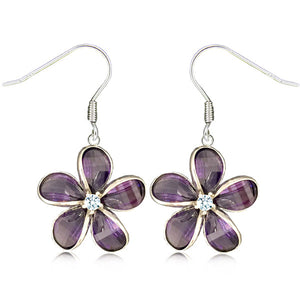 Sterling Silver Semi-Precious Purple Amethyst Plumeria Dangle Earrings