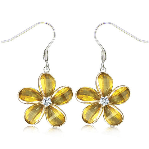 Sterling Silver Semi-Precious Yellow Citrine Plumeria Dangle Earrings