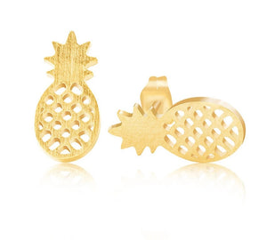 Human Design Pineapple Stud Earrings Gold