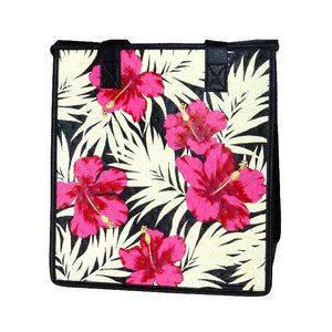 Hibiscus Fronds Black Medium Insulated Hot/Cold Reusable Bag