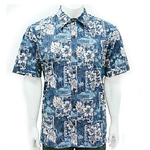 Men's Pastel Hibiscus Aloha Shirt ~ Blue