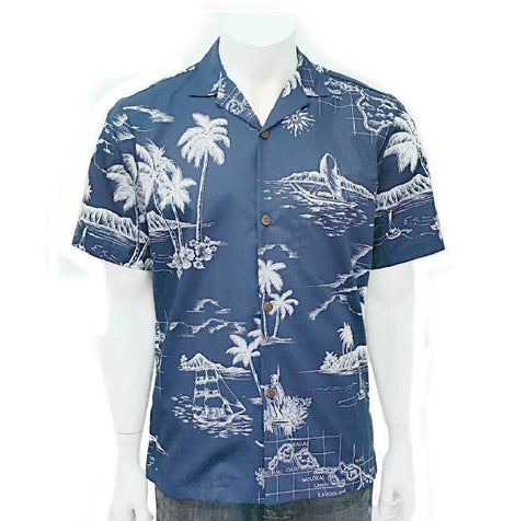 Men's Map of Hawaii Aloha Shirt ~ Navy