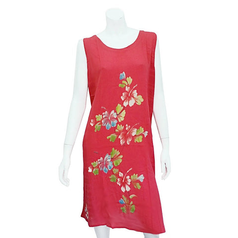 Hawaiian Floral Crinkle Dress ~  Pink