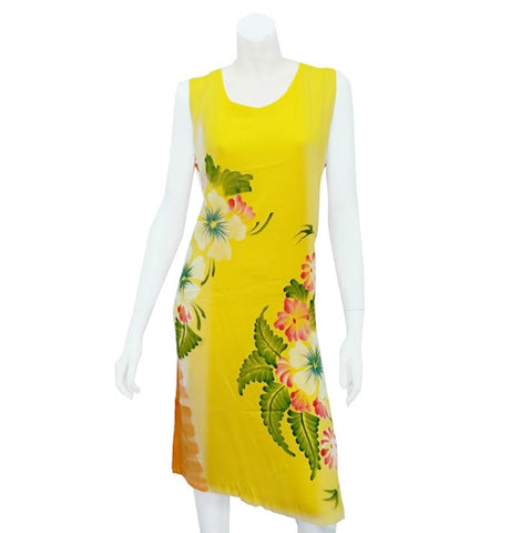 Hawaiian Floral Crinkle Dress ~ Yellow