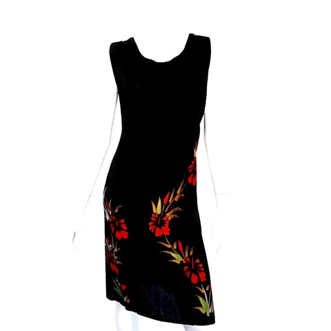 Hawaiian Floral Crinkle Dress ~ Black