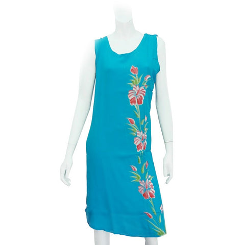 Hawaiian Floral Crinkle Dress ~ Turquoise