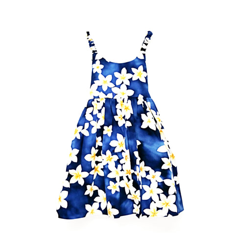 Toddler Girl's Elastic Strap Plumeria Sundress~ Blue