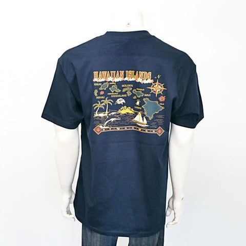 Hawaiian Islands Map Tee ~ Navy