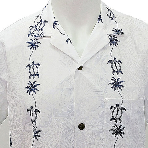 Men's Honu Panel Aloha Shirt ~ Blue