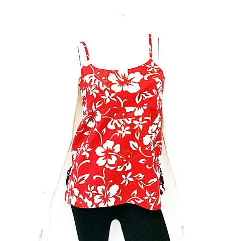 Classic Hibiscus Pareo Adjustable Spaghetti Strap Tank Top ~ Red