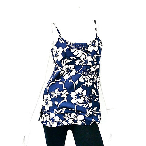 Classic Hibiscus Pareo Adjustable Spaghetti Strap Tank Top ~ Navy