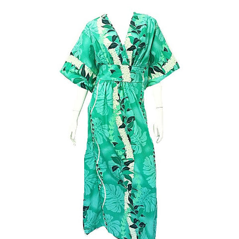 Maile Monstera ~ Japanese Style Caftan ~ Green
