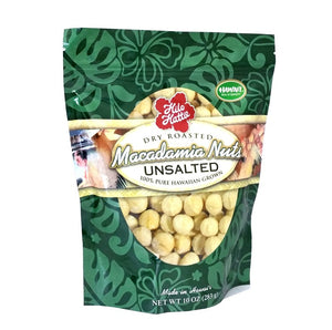 Hilo Hattie Dry Roasted UNSALTED Macadamia Nuts 10 oz. Foil Pouch