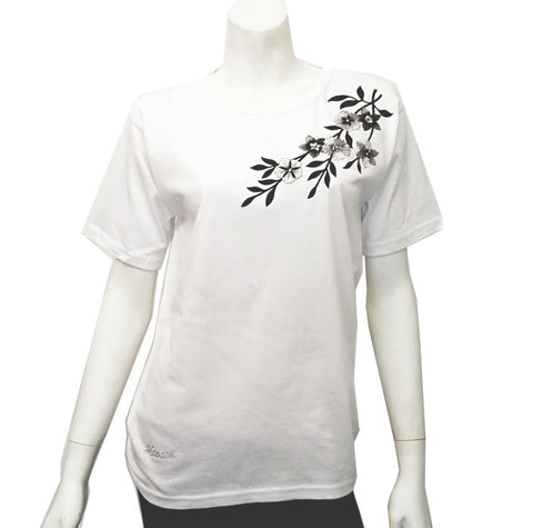 Women's Black Flower Patch Tee ~ White
